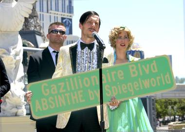 Absinthe 7th Anniversary and Clark County Commissioner Lawrence Weekly declaring the Strip be named Gazillionaire Blvd. Pictured: (l-r) the Gazillionaires bodyguard Duo Vector, The Gazillionaire and the Gazillionaires Assistant Wanda Widdles. Monday, May 7, 2018.