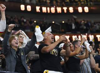 Vegas Golden Knights fans cheer after scoring in the first minute against the Winnipeg Jets during Game 3 of their NHL hockey Western Conference Final game Wednesday, May 16, 2018, at T-Mobile Arena.
