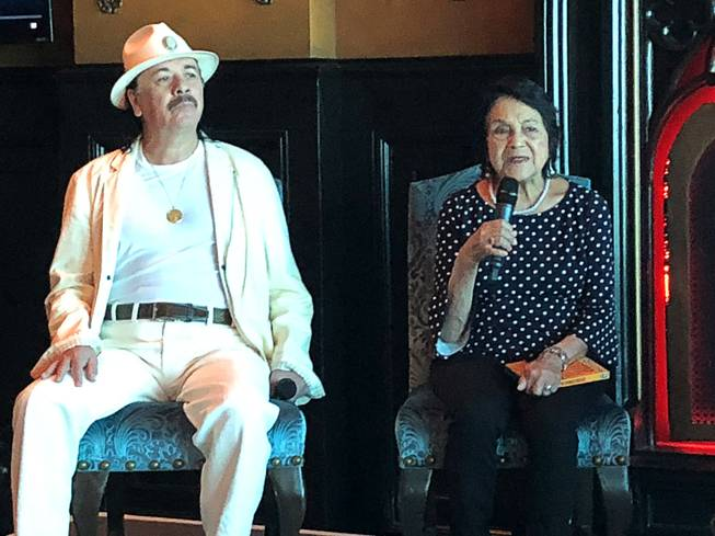 Musician Carlos Santana and activist Dolores Huerta discuss a new documentary on Huerta's life that aired last month on PBS. The two spoke for nearly an hour at the Foundation Room at the House of Blues in Las Vegas, Thursday, May 17, 2018