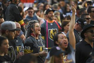 Vegas Golden Knights fans cheer during a rally before Game 4 of their NHL hockey Western Conference Final game against the Winnipeg Jets Friday, May 18, 2018, at T-Mobile Arena.