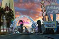 An artist's rendering of a new arch sign marking downtown Las Vegas.