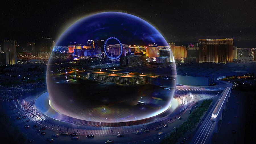 "A rendering shows the MSG Sphere Las Vegas arena project, slated to open in 2020 behind the Venetian and Palazzo. This view shows ""cloak mode,"" which appears to make the structure disappear by displaying the city's background."