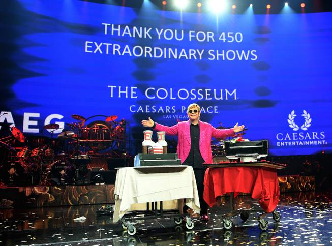 Elton John says farewell to the Colosseum on May 17, 2018.