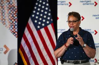 Congressional District 4 Democratic candidate Pat Spearman speaks during the Keeping Up with the Candidates panel hosted by NextGen America at Three Square in Las Vegas on Tuesday, May 22, 2018.
