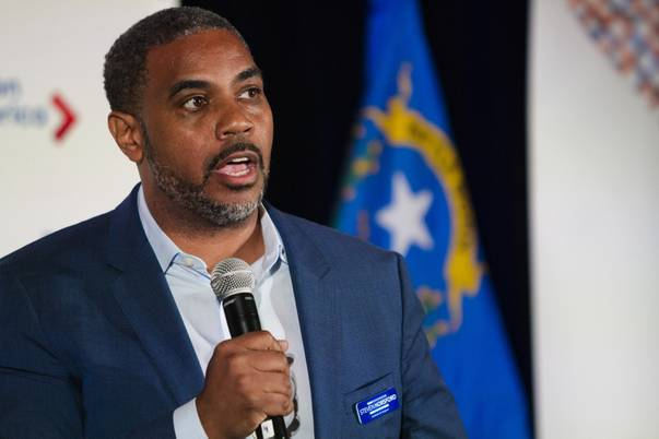 Congressional District 4 Democratic candidate Steven Horsford speaks during the Keeping Up with the Candidates panel hosted by NextGen America at Three Square in Las Vegas on Tuesday, May 22, 2018.