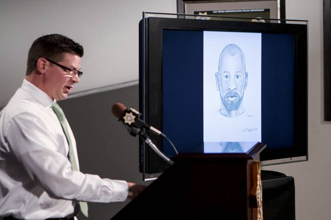 Lt. Dave Valenta of Metro Police's sex crimes bureau addresses the public Tuesday, May 29, 2018, regarding a sex assault of an 11-year-old girl allegedly perpetrated by a stranger who persistently offered her a ride. Police released a composite sketch of the perpetrator seen here on the screen.