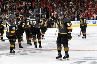 The Vegas Golden Knights give a salute to fans before leaving the ice after losing to the Washington Capitals in Game 5 of the NHL Stanley Cup Final at T-Mobile Arena Thursday, June 7, 2018.