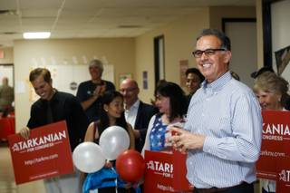 Congressional candidate Danny Tarkanian speaks to his supporters during his primary election night party, Tuesday, June 12, 2018.