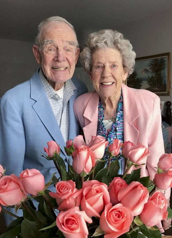 Jim and Joyce Ekstrom pose for a photo.  They'll be celebrating their 70th anniversary on June 19.