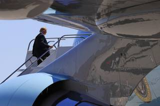 President Donald Trump boards Air Force One at McCarran International Airport in Las Vegas, Nv., Saturday, June 23, 2018.