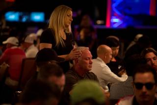 A man receives a head massage while competing on day 1 of the 2018 World Series of Poker Main Event at the Rio All-Suite Hotel & Casino, Monday July 2, 2018.