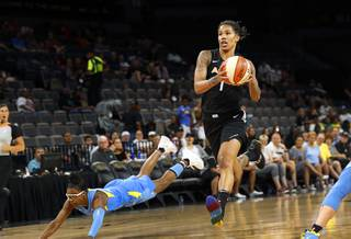 Las Vegas Aces forward Tamera Young (1) drives to the basket during a game against the Chicago Sky at Mandalay Bay Events Center Thursday, July 5, 2018.