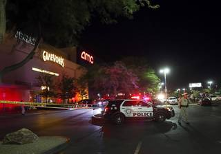 A Metro Police officer is shown outside GameWorks in the Town Square shopping mall after a fight Friday, July 6, 2018.