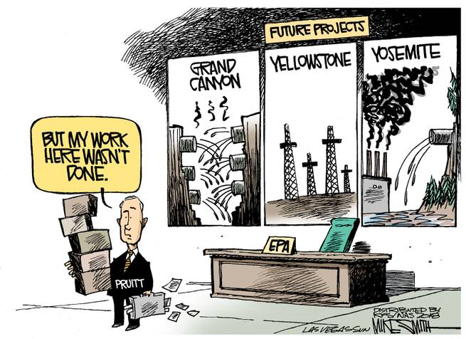 Scott Pruitt vacating his office carrying boxes of belongings, saying,