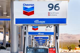 Pump number 96 is seen outside of Terrible's Road House, the world's largest Chevron gas station, in Jean, NV, Friday, July 6, 2018., 2018.