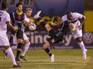 The LV Lights FC versus the Saint Louis FC team for a USL game at the Cashman Field Saturday, July 7, 2018, in Las Vegas.