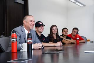 From left, Dean of the Greenspun College of Urban Affairs Jacob Thompson, Matthew Gomez, Allie Ryerson, Brian Warren and Jeffrey Horn are interviewed at UNLV, Wednesday, July 11, 2018.