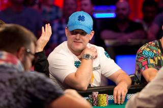 Nic Manion competes for a seat at the final table of 9 and a shot at the $8.8 million prize at the 2018 WSOP Main Event, at the Rio All-Suite Hotel and Casino, Wed. July 11, 2018.
