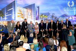 Caesars Entertainment Executives and dignitaries at the groundbreaking of CAESARS FORUM a $375 million, 550,000 square-foot conference center debuting in 2020. Monday, July 16, 2018.
