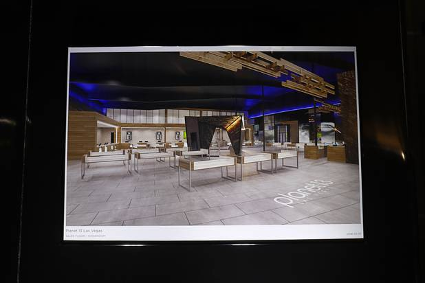 A artist's illustration of the dispensary floor is displayed during a news conference for the Planet 13 Superstore dispensary, a cannabis entertainment complex, under construction on Desert Inn Road near The Strip Thursday, July 19, 2018. Phase 1, expected to be complete in November 2018, will include an interactive entertainment space and more than 16,500 sq. ft. of retail space.
