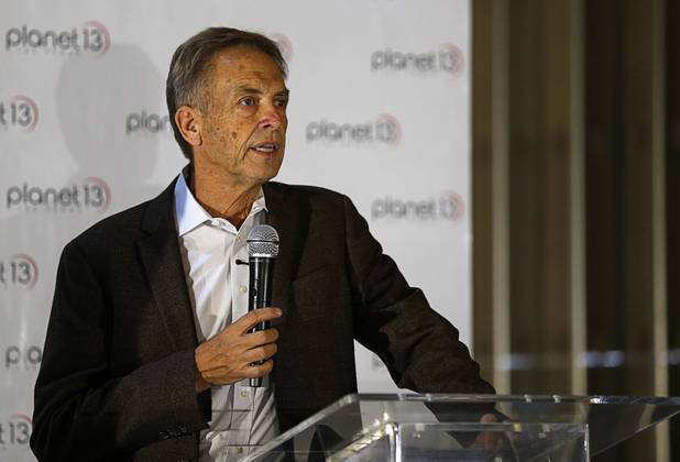 Larry Scheffler, Planet 13 co-CEO, speaks during a news conference for the Planet 13 Superstore dispensary, a cannabis entertainment complex, under construction on Desert Inn Road near The Strip Thursday, July 19, 2018. Phase 1, expected to be complete in November 2018, will include an interactive entertainment space and more than 16,500 sq. ft. of retail space.