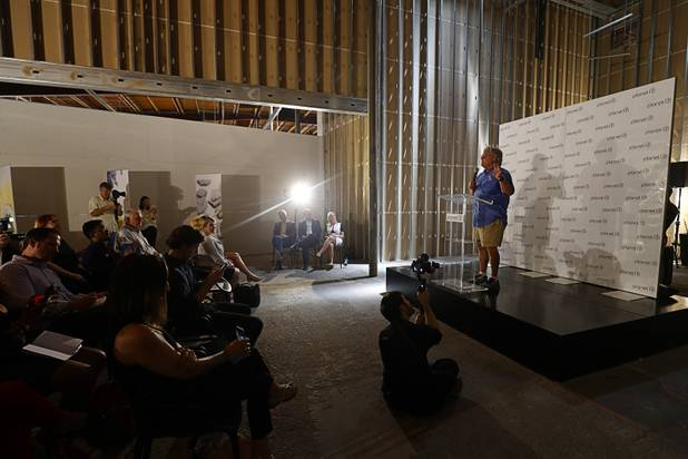State Sen. Tick Segerblom speaks during a news conference for the Planet 13 Superstore dispensary, a cannabis entertainment complex, under construction on Desert Inn Road near The Strip Thursday, July 19, 2018. Phase 1, expected to be complete in November 2018, will include an interactive entertainment space and more than 16,500 sq. ft. of retail space.
