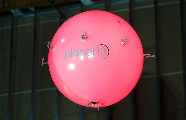 "An ""Air Orb"" flies during a news conference for the Planet 13 Superstore dispensary, a cannabis entertainment complex, under construction on Desert Inn Road near The Strip Thursday, July 19, 2018. Six German-made, illuminated Air Orbs will be fly in a show over the dispensary floor, a representative said."