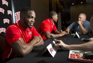 UNLV running back Lexington Thomas, left, and defensive end Jameer Outsey speak with reporters during the Mountain West Media Day at the Cosmopolitan in Las Vegas Wednesday, July 25, 2018.