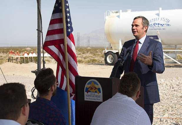 North Las Vegas City Manager Ryann Juden speaks during a water pipeline groundbreaking ceremony near Speedway Boulevard and Centennial Parkway in North Las Vegas Tuesday, July 31, 2018. The pipeline, expected to be completed in late 2020, will jumpstart development in the Apex Industrial Park, officials said.