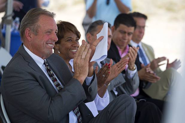 North Las Vegas Mayor John Lee, left, and members of the North Las Vegas city council applaud during a water pipeline groundbreaking ceremony near Speedway Boulevard and Centennial Parkway in North Las Vegas Tuesday, July 31, 2018. The pipeline, expected to be completed in late 2020, will jumpstart development in the Apex Industrial Park, officials said.