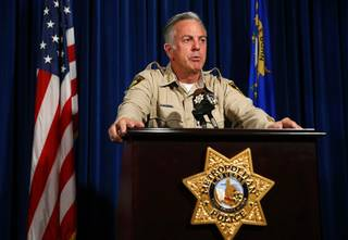 Sheriff Joe Lombardo speaks during a news conference at Metro Police headquarters Friday, Aug. 3, 2018. Metro released their final report on the Oct. 1 mass shooting.
