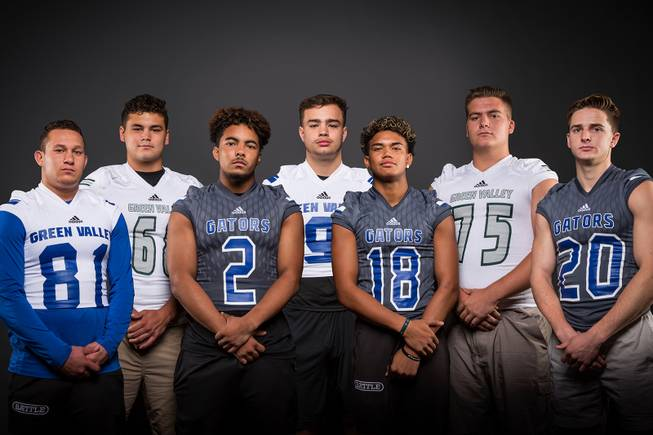 Members of the Green Valley High football team pose for a photo at the Las Vegas Sun's high school football media day Tuesday July 31, 2018 at the Red Rock Resort and Casino. They include, from left, Reyden Morett, Hunter Mecham, Julian Hulse, Mitch Jacobs, Kalyja Waialae, Will Bonkavich and Brant Hershberger.
