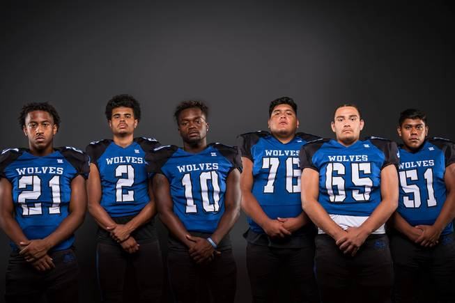 Members of the Basic High football team pose for a photo at the Las Vegas Sun's high school football media day Tuesday July 31, 2018 at the Red Rock Resort and Casino. They include, from left, Dorian Mcallister, Boots Render, Franco Mays, Enrique Canizales, Julio Duron and Carlos Rojas.