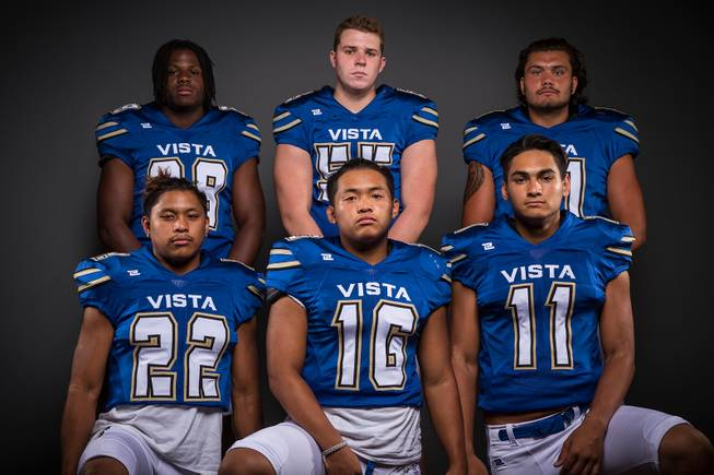"Members of the Sierra Vista High football team pose for a photo at the Las Vegas Sun's high school football media day Tuesday July 31, 2018 at the Red Rock Resort and Casino. They include, top row, Bryan Lagrange, Cole Foss, Austin Schmit. Bottom row, Josiah Antolin, Tristin Jimenez and Jordan ""Polo"" Solomon."