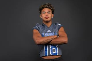 Kalyja Waialae of the Green Valley High football team poses for a photo at the Las Vegas Sun's high school football media day Tuesday July 31, 2018 at the Red Rock Resort and Casino.
