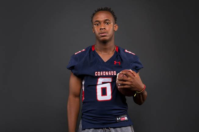 Semaj Bolin of the Coronado High football team poses for a photo at the Las Vegas Sun's high school football media day Tuesday July 31, 2018 at the Red Rock Resort and Casino.