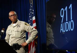 Assistant Sheriff Charles Hank listens to audio from a 911 tape during a briefing at Metro Police headquarters Tuesday, Aug. 14, 2018. Police discussed the officer-involved shooting of Mohamed Mahmoud, 37, at the Ross Dress For Less store on Blue Diamond Road Saturday, Aug. 11.
