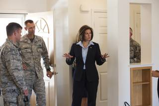 Nevada Senator Catherine Cortez Masto takes a tour of on-base housing for servicemembers and their families stationed at Nellis Air Force Base, Friday Aug. 24, 2018.