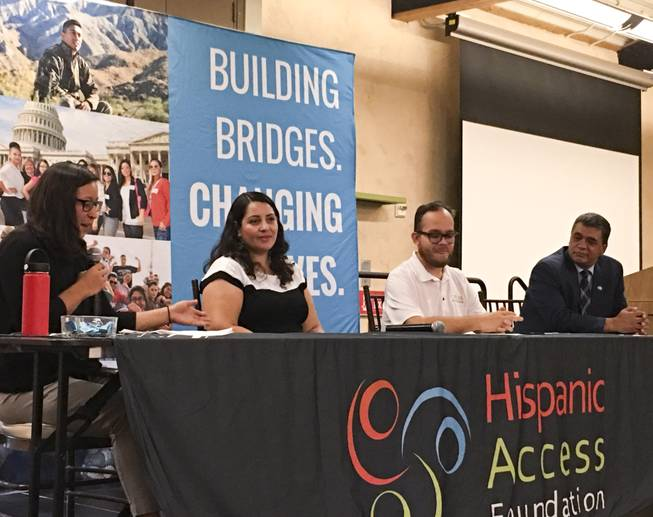 Panelists discuss the importance of public lands for the Latino community at the Springs Preserve, Tuesday, August 21, 2018.
