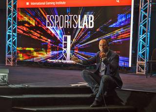 Millennial Esports CEO Alex Igelman speaks at an event marking the opening night of UNLV's academic esports class and lab, inside an actual esports arena on Thursday, Sept. 7, 2017.