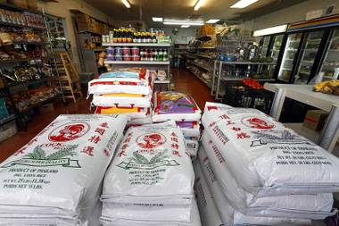 Bags of rice are displayed at Sisters Oriental Market, 1732 Fremont St., Wednesday, Aug. 29, 2018.