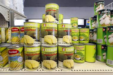 Cans of jackfruit are displayed on a shelf at Sisters Oriental Market, 1732 Fremont St., Wednesday, Aug. 29, 2018.