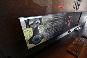 A view of video monitors inside the Sundance Media Group