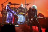 "Vocalist Adam Lambert, drummer Roger Taylor and guitarist Brian May perform as Queen + Adam Lambert open the 10-show run of ""The Crown Jewels"" Saturday, September 1, 2018, at Park Theater in Park MGM."