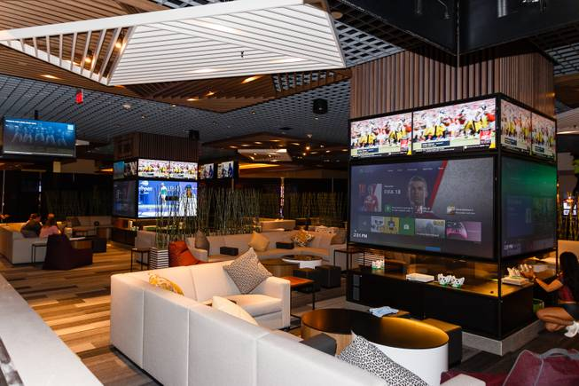A view of a Fan Cave section, where guests can reserve time to play XBOX video games, is seen at a new sports book and bar called The Book inside The LINQ, Wednesday, Sep. 5, 2018.