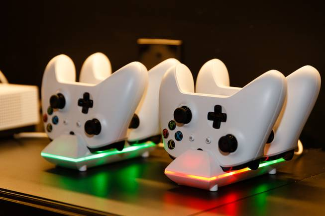 A set of XBOX video game controllers is seen at the Fan Cave section at a new sports book and bar called The Book inside The LINQ, Wednesday, Sep. 5, 2018.