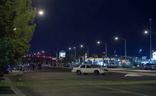 The scene of a fatal auto-pedestrian accident on Las Vegas Boulevard South near Silverado Ranch Boulevard Thursday, Sept. 6, 2018. Two people died after they were struck by a car near the South Point.