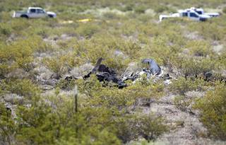 The remains of a small plane are shown in a desert area north of Jean, Nev. between Interstate 15 and Las Vegas Boulevard Thursday, Sept. 6, 2018. The plane crashed Wednesday night killing one person.