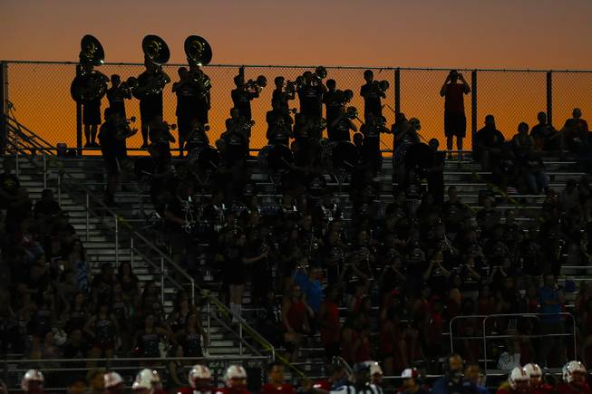Liberty high school band members perform in the bleachers during a game against IMG Academy at Liberty High School, Friday, Sep. 7, 2018.