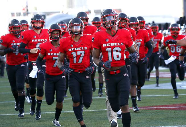 UNLV Rebels the the field for a game against the UTEP Miners at Sam Boyd Stadium Saturday, Sept. 8, 2018.